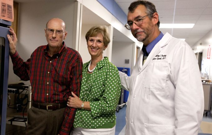 Jay Lynch, MD, professor of hematology/oncology at the College of Medicine, with Jerry and Judy Davis