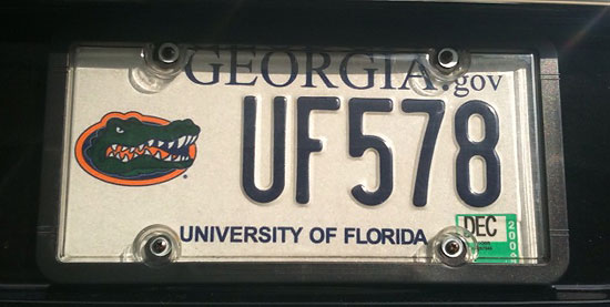 Paul Alphonse Jr., MD '98, was instrumental in making sure UF alumni in Georgia have the opportunity to purchase Gator license plates and show their school pride in the middle of Georgia Bulldog territory. There are approximately 7,000 Gator tags on cars in the Atlanta area today.