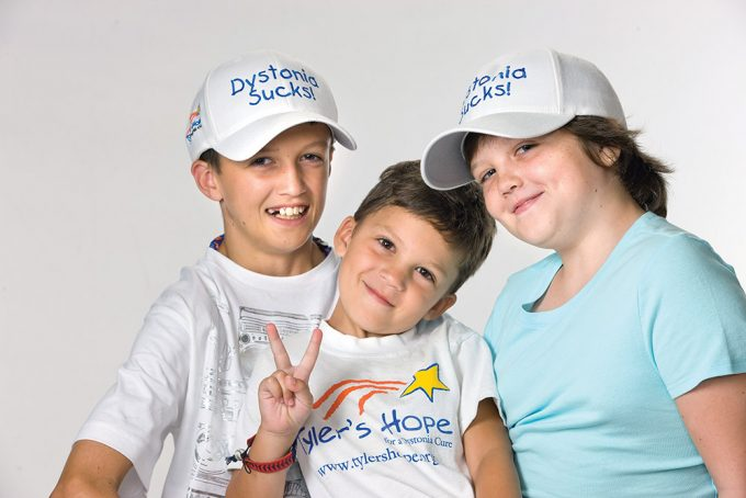The Staab children from left are Tyler, 13; Luke, 6; Samantha, 10. Their parents, Rick and Michelle Staab started Tyler's Hope for a Dystonia Cure Inc. five years ago after Tyler was diagnosed with the disorder. Subsequently Samantha was also diagnosed. Photo courtesy of Tyler's Hope